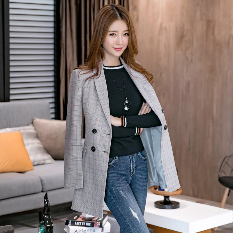 2019 Autumn Slim British Style Double Breasted Houndstooth Casual Simple Office Lady Women Plaid Long Blazer Jacket Plus Size