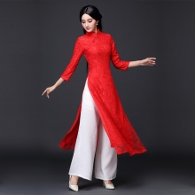 2018 new aodai vietnam cheongsam dress for women traditional clothing floral ao dai dress