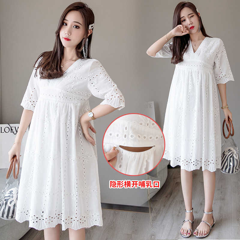 8ec657d5d1531 Detail Feedback Questions about 1696# White Lace Maternity Nursing Dress V  Neck Slim Waist Bodycon Clothes for Pregnant Women Summer Pregnancy Feeding  Dress ...