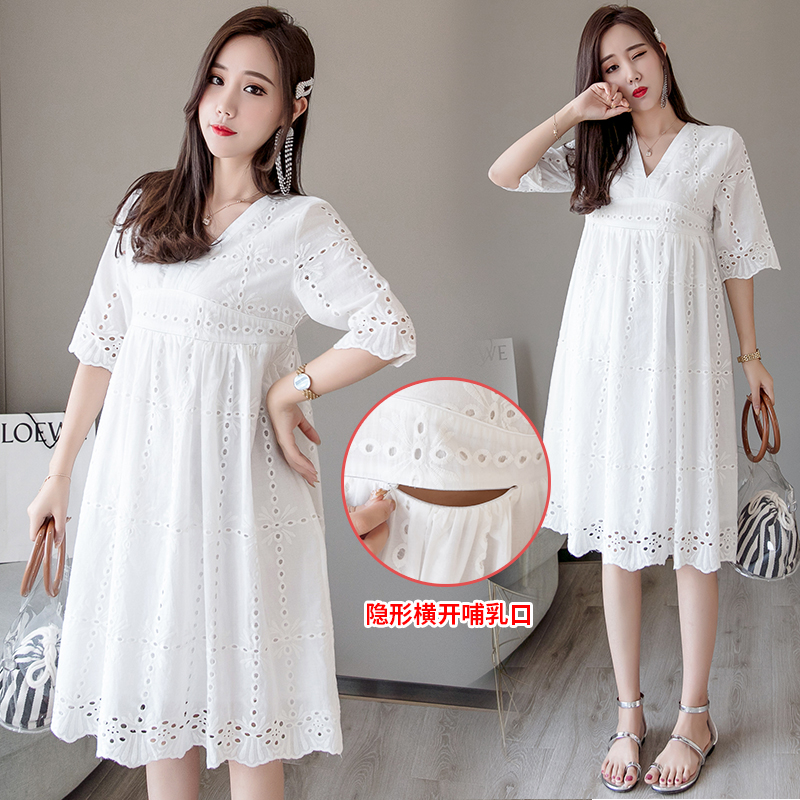 1696# White Lace Maternity Nursing Dress V Neck Slim Waist Bodycon Clothes for Pregnant Women Summer Pregnancy Feeding Dress1696# White Lace Maternity Nursing Dress V Neck Slim Waist Bodycon Clothes for Pregnant Women Summer Pregnancy Feeding Dress