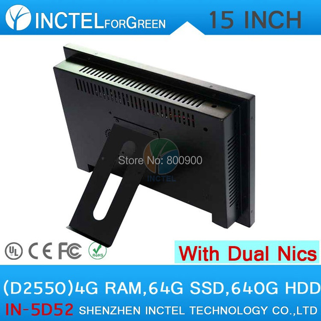 Tochscreen  all in one computer with 5 wire Gtouch 15 inch  LED touch4G RAM 64G SSD 640G HDDDual 1000Mbps Nics