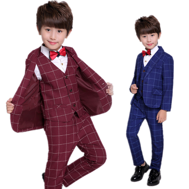 2017 Baby Boys Suits for Weddings Boy Formal Prom Suit Kids Plaid Blazer Vest Pants Children Clothes Set Costume B052 boys wedding clothes kids tuxedo suit for baby boy blazer plaid vest shirt pants toddler formal party set children clothing b038