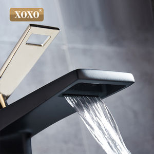 Image 5 - XOXO black white bathroom basinfaucet Hollow shape bath Waterfall faucets single handle water mixer tap 80015