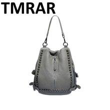 Новый женский рок и стад мода рюкзак мягкая искусственная кожа заклепки дизайн большой емкости женщины сумки двойные рюкзаки M1921