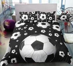 Thumbedding Dropship czarny kolor piłka nożna zestawy pościeli pełne 3D Sport zestaw poszewek wysokiej jakości zaprojektowany łóżko-zestaw 3 sztuk