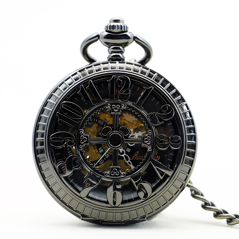 New Retro Pattern Hand-winding Mechanical Pocket Watch Arabic Numerals Case Skeleton Hollow Mechanical Pocket Watches PJX1156