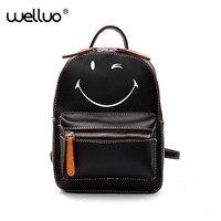 Smile Printing Leather Backpack For Teenage Girls Lovely Dog Prints Backpacks Female Preppy Style Rucksack Black