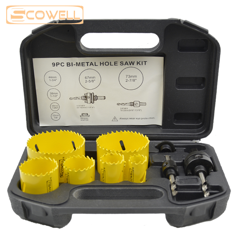 цена на 9pcs Holesaw blades kit Bi metal holesaw Bit Set adjustable wood hole saw cutter metal cutting Core Drill Bits Hole Cutting Saw