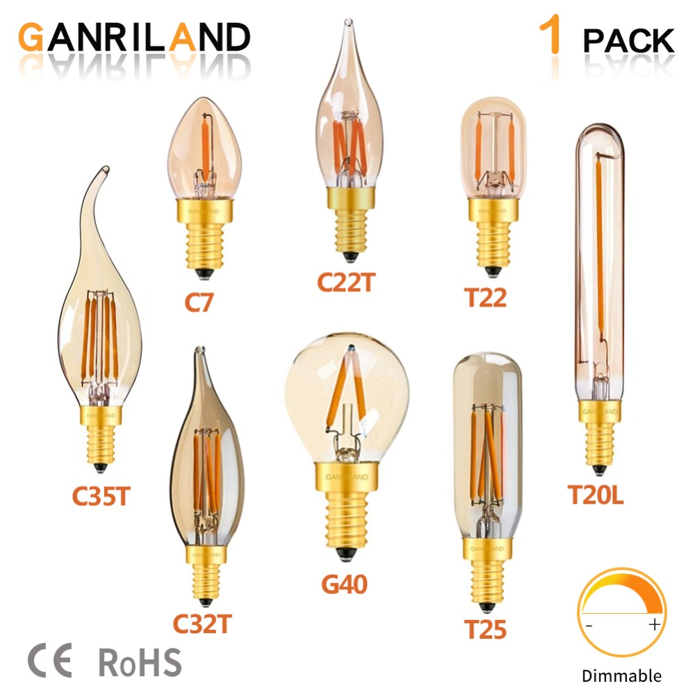 GANRILAND Led E14 Dimmable Gold Mini Tubular Chandelier Night Lamp 0.5W 1W 2W 4W 2200K E12 220V Vintage LED Filament Light Bulbs