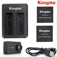 KingMa For Xiaomi Yi 4K Plus Battery 2PCS 1400mAh Batteries Dual USB Charger For XiaoYi Xiaomi