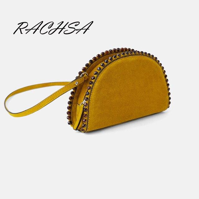 De alta calidad de cuero la Pu Mujer hombro bolso Crossbody bolsos remache media luna monederos y cremallera Bolsas marca