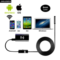 JINGLESZCN 8mm Lens Wifi Android Endoscope Camera 10M Waterproof IP67 Snake Tube Pipe Borescope Inspection Camera