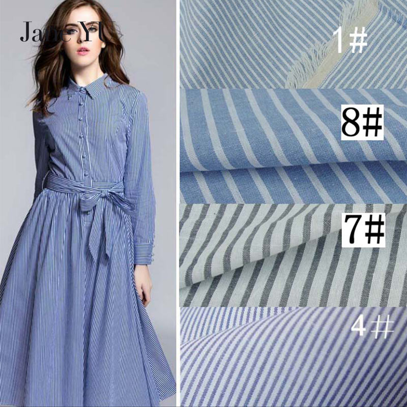 JaneYU 100% Cotton Stripe Cloth High Quality 100*150cm 360g Use For Skirt,Dress,T-shirt Etc. Housecoat