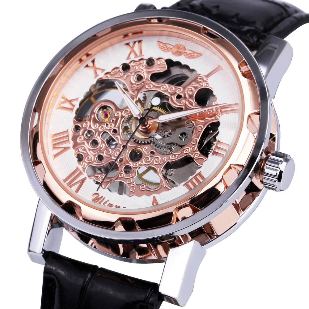 2017 WINNER Men Fashion Mechanical Watches Leather Strap Skeleton Dial Luminous Hands Men Wrist-watch Top Brand Gift +BOX winner fashion men s automatic mechanical watches classic concise precision male wrist watches leather watch bands gift for men