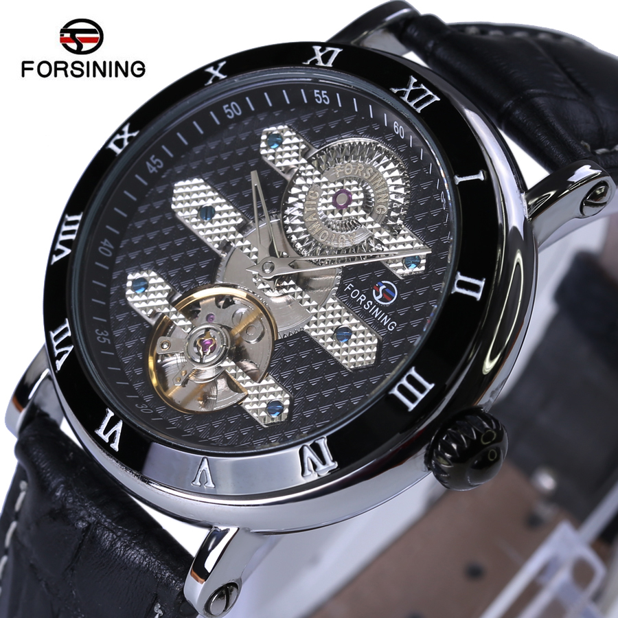 Forsining Mens Watches Top Brand Luxury Men Sport Tourbillon Automatic Mechanical Genuine Leather Wristwatch relogio masculino купить