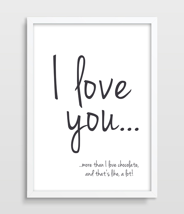 Typographic Print I Love You More Than Chocolate Funny Quote Valentines Day Gift