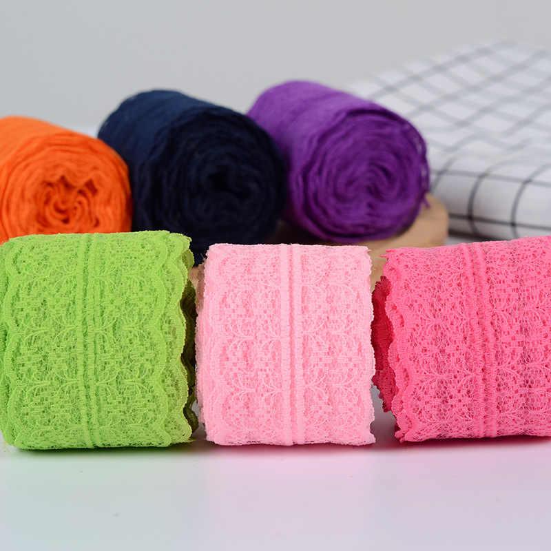 4.5 ซม. ริบบิ้นลูกไม้เทป DIY Handmade เย็บเสื้อผ้าผ้าวัสดุหัตถกรรมสีขาวสีดำสีฟ้า Lace Trimming