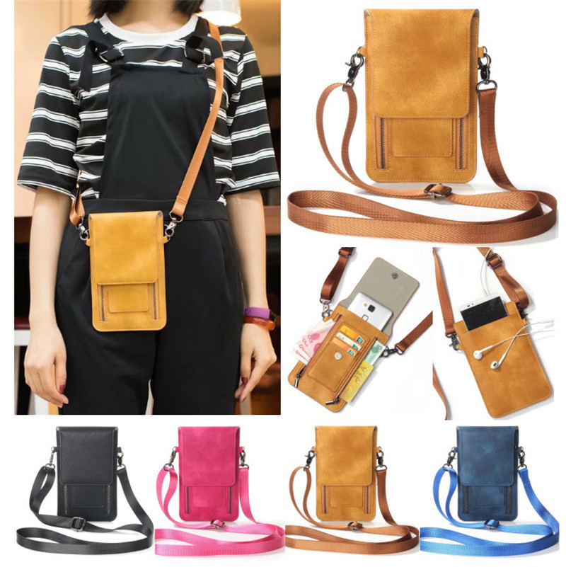 Luxury PU Leather Convenient Bag Cell Phone Handbag Wallet Pouch Neck Strap For Iphone 4s Se 5s 8 Plus 6s X 6 7 10 Women Case