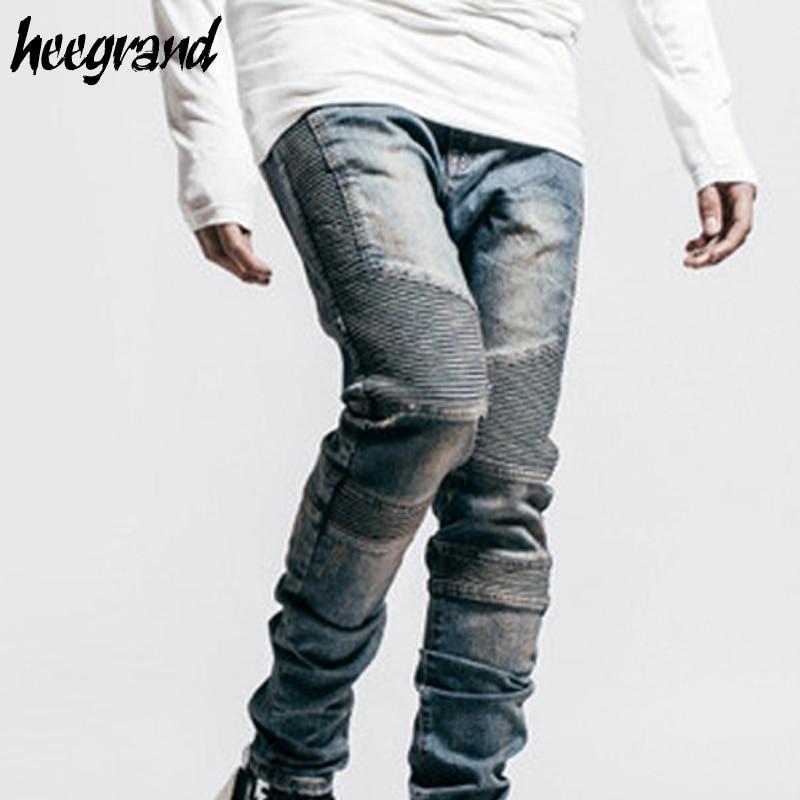 HEE GRAND Men Jeans 2017 New Fashion Men's Biker Motorcycle Jeans Male Slim Fit Blue Black Washed Retro Denim Jean MKN883 pro biker mcs 01a motorcycle racing full finger protective gloves blue black size m pair