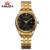 Famosa Marca de Ouro Relógio de Quartzo Homens de Aço Inoxidável Relógio De Pulso De Strass Assistir Homem de Negócios Calendário Data Dia Relógios Ao Ar Livre