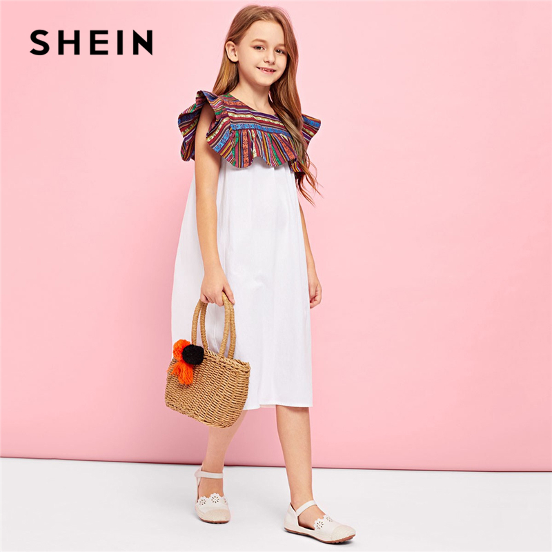 SHEIN Kiddie White Keyhole Back Contrast Button Teenage Girl Party Long Dress 2019 Summer Sleeveless Shift Trapeze Girls Dresses criss cross back split longline dress