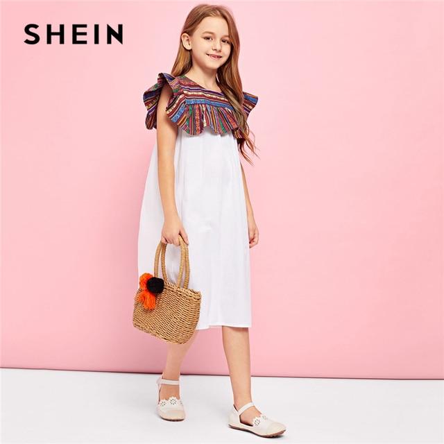 SHEIN Kiddie/белые вечерние длинные платья с контрастными пуговицами на спине для девочек-подростков 2019 г. летние платья трапециевидной формы без рукавов для девочек