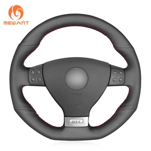 mewant preto couro artificial cobertura de volante do carro para volkswagen vw golf gti 5