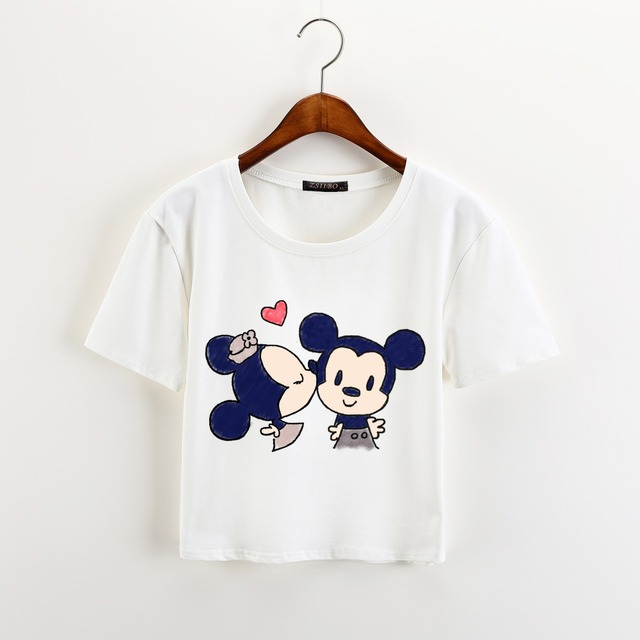 Cartoons Print Casual Crop Tops