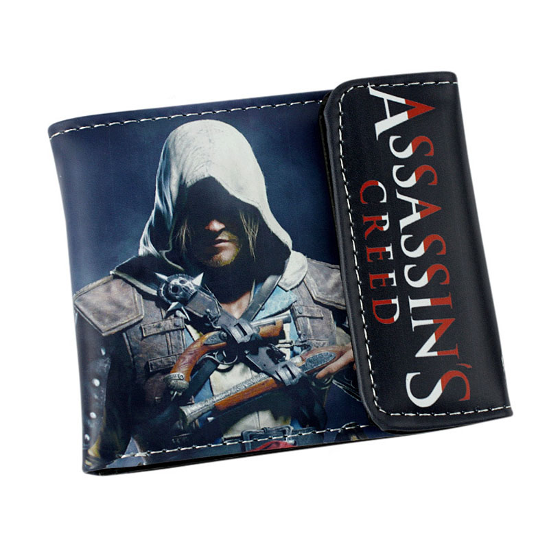 Creed Assassin Purse Cartoon Animation Assassin's Creed Desmond Wallet Anime PU Leather Dollar Bags Boy Creative Short Wallets 2016 new arriving pu leather short wallet the price is right and grand theft auto new fashion anime cartoon purse cool billfold