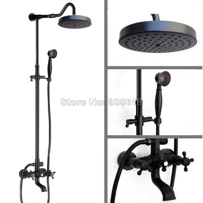 Black Oil Rubbed Bronze Wall Mounted Rain Shower Faucet Set with Handheld Shower + Bathroom Dual Handles Tub Mixer Taps Wrs667