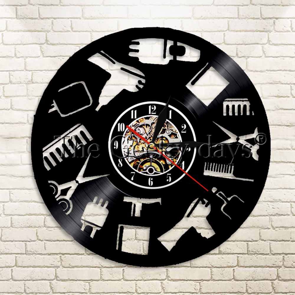 1Piece Beauty Salon Tools Equipment Vinyl Record Wall Clock Gift Idea For Hairdressers B ...