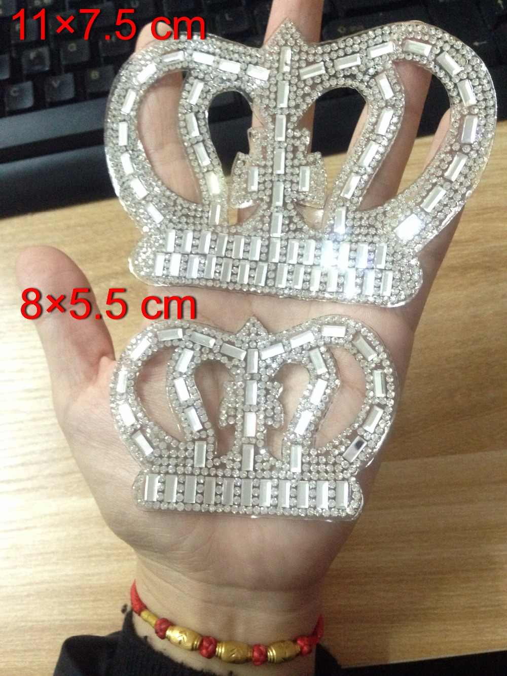 1 pcs White Crown Hot fix Rhinestone Motif Iron on Crystal Patch Badage Children Women Clothes Bride Wedding Dress Accessories