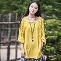 Sólido Amarillo Ropa de Mujer Blusas de manga Larga Suelta Más El tamaño Marca Marca de la Blusa de Verano Tops Camisas Blancas De Lino ocasional B041