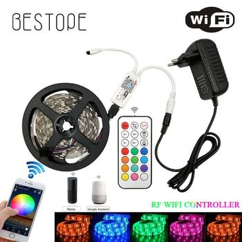 5M 10M 15M WiFi RGB LED strip light Waterproof SMD 5050 300 leds DC 12V led tiras diode flexible ribbon IR RF WIFI contoller set