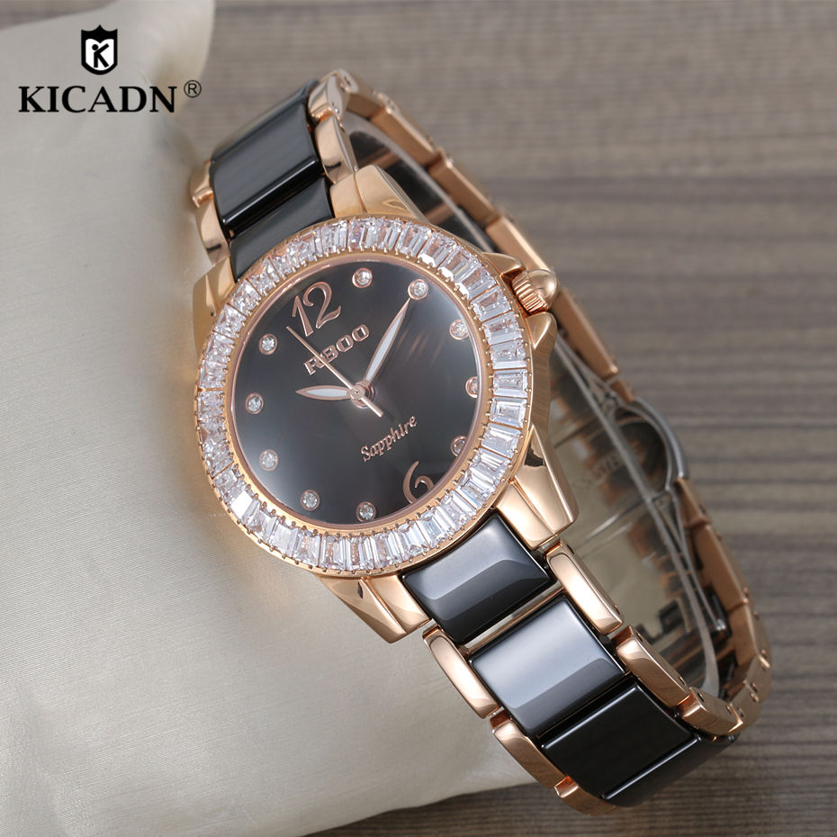 купить Montre Femme Top Ladies Luxury Ceramic Watch Fashion Quartz Wristwatch Women Clock KICADN Brand Rose Gold Elegant Watches Female по цене 4024.09 рублей