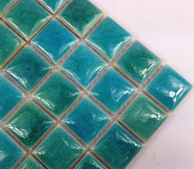 €154.97 |Carreaux de mosaïque en céramique bleu émaillé fissuré par glace  de 25mm pour la cuisine douche salle de bains carrelage mural autocollant  de ...