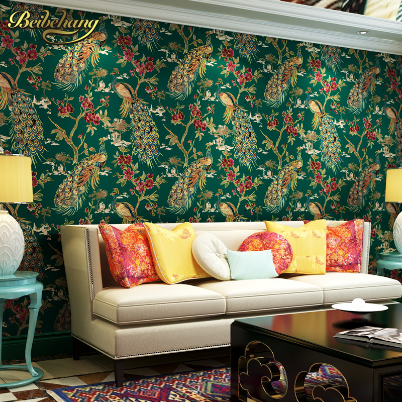 beibehang Luxury 3d Southeast Asia peacock wallpaper wallcovering bedroom background wall paper roll papel de parede para quarto палантин max mara max mara ma994gwumr59