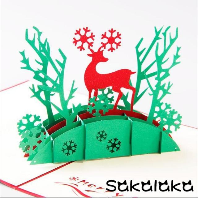 10pcs creative 3d handmade christmas reindeer merry christmas 10pcs creative 3d handmade christmas reindeer merry christmas greeting cards christmas lovely gift m4hsunfo