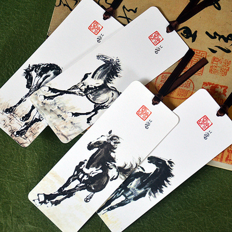 Coloffice 4PCS/Set Creative Chinese Style Horse Bookmarks Classic Art Student Gift School Office Paper Ink Painting Bookmark