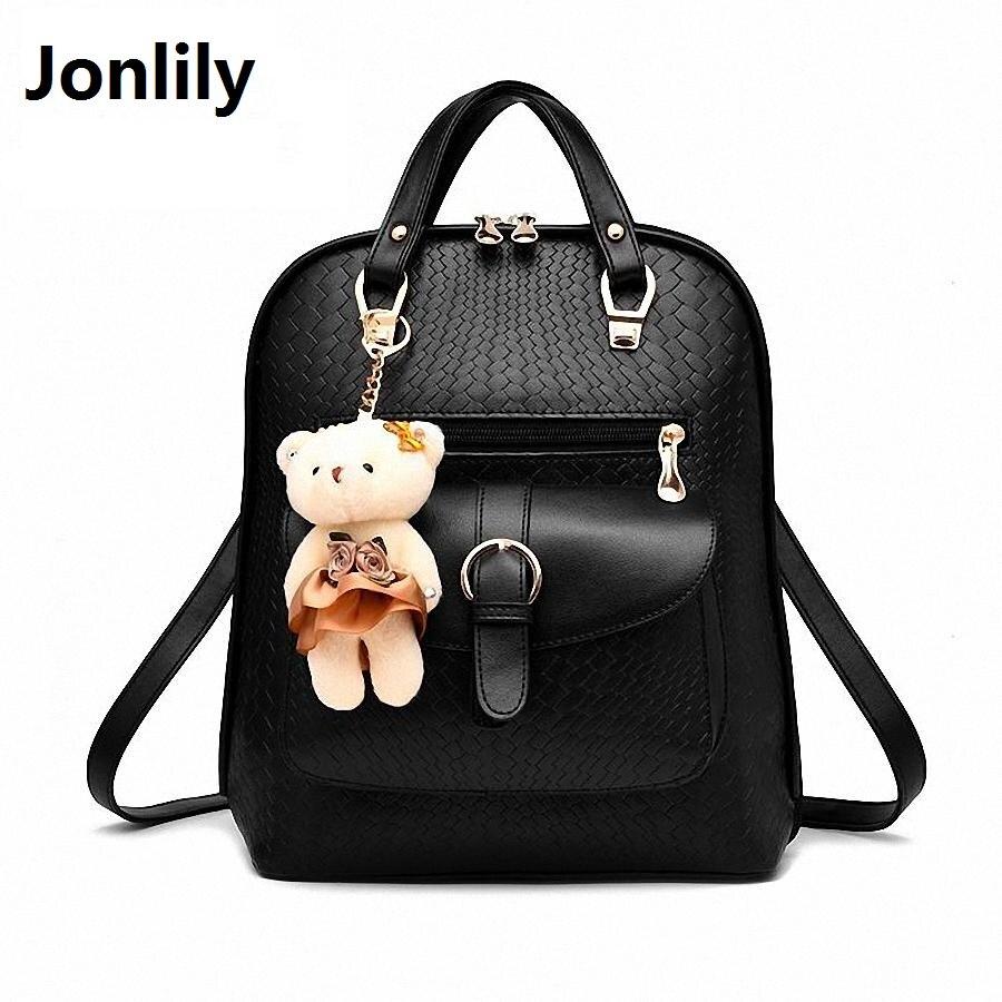 Jonlily Embossed Elegant Backpacks Women PU Leather School Bag Pack For Teenager Girls Female Shoulder Designer