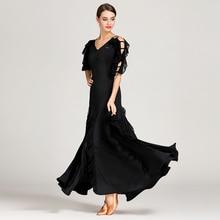 Femme robe de salon valse danse robe foxtrot espagnol flamenco robe danse porter noir danse vêtements standard social robe