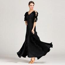 Kadın balo salonu elbise waltz dans elbise foxtrot İspanyol flamenko elbise dans giyim siyah dans elbise standart sosyal elbise