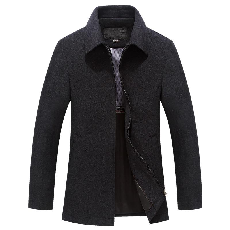 2020 New Men's Winter Wool Coat Casual Slim Fit Autumn Fashion Square Collar Warm Outerwear Woolen Jacket Men Overcoat Pea Coat