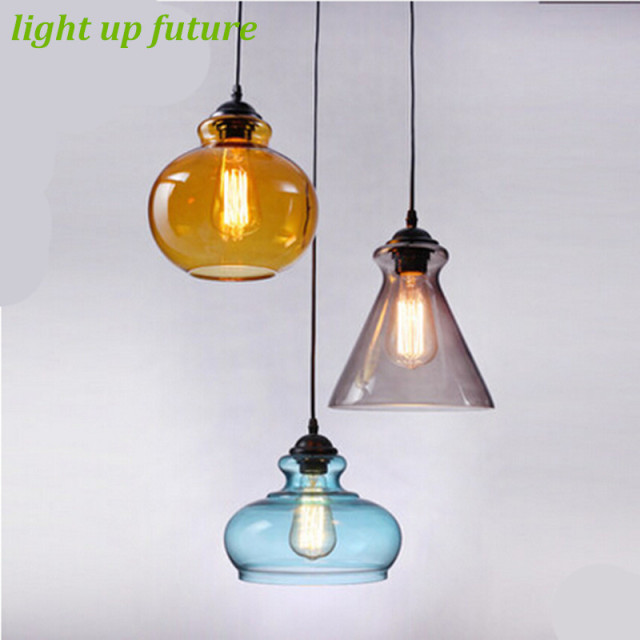 Vintage handmade creative 3 colors glass pendant light for dining vintage handmade creative 3 colors glass pendant light for dining room bar restaurant glass pendant lamps aloadofball Image collections