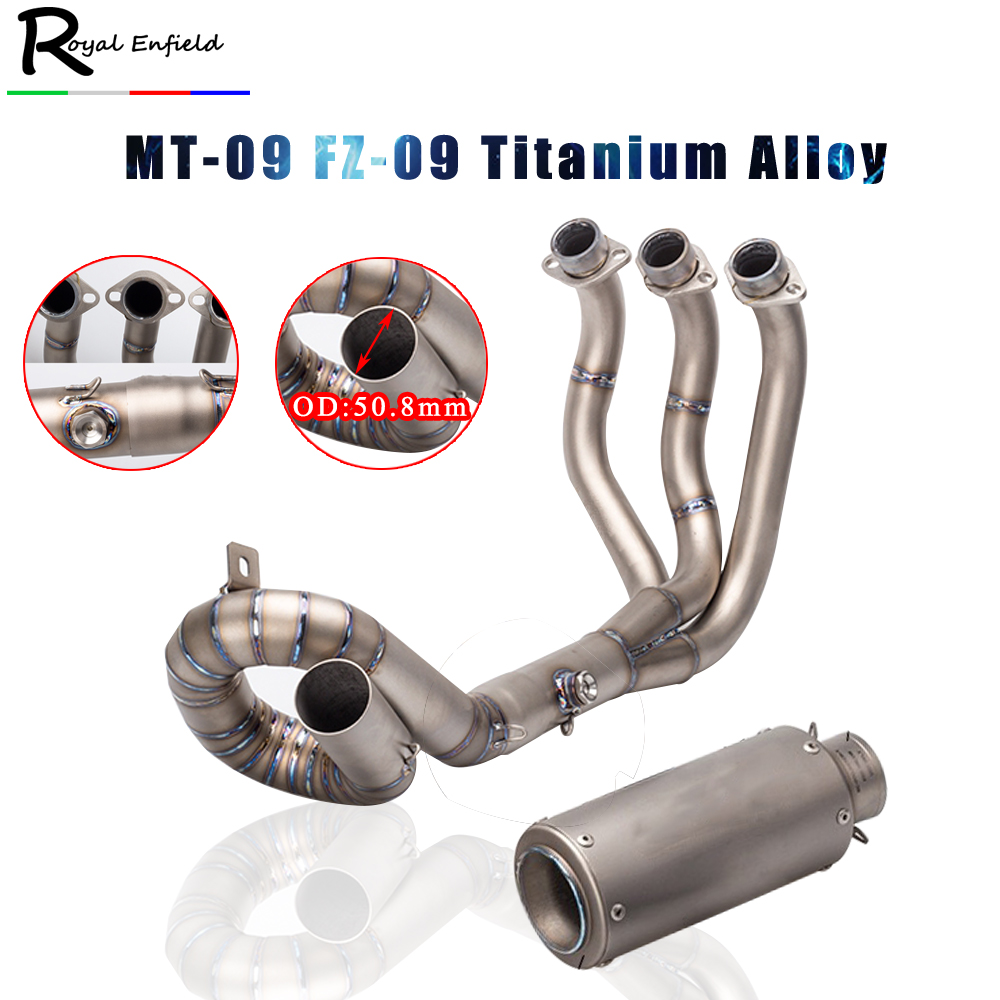 Link-Pipe MT09 Muffler Full-Exhaust-System-Sticker Slip-On Motorcycle Titanium-Alloy