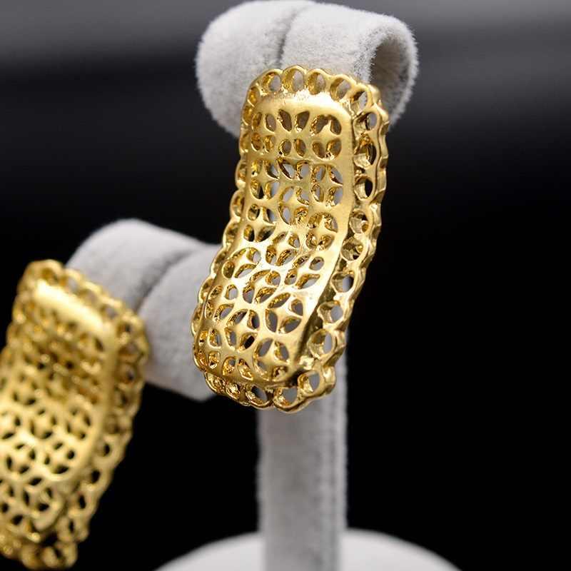 Ensoleillé bijoux mode à la mode nouveaux ensembles de bijoux pour les femmes collier boucles d'oreilles pendentif en alliage carré évider pour fête cadeau quotidien