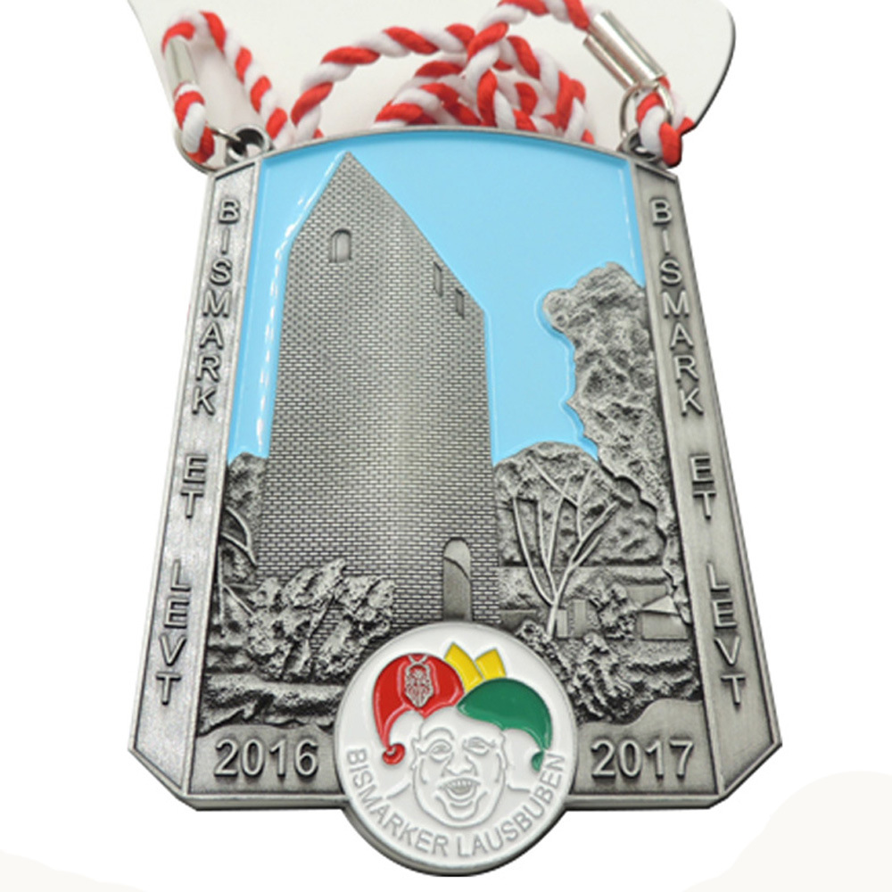 Personalized electroplating antique silver medals cheap custom engraving in different shapes of die casting