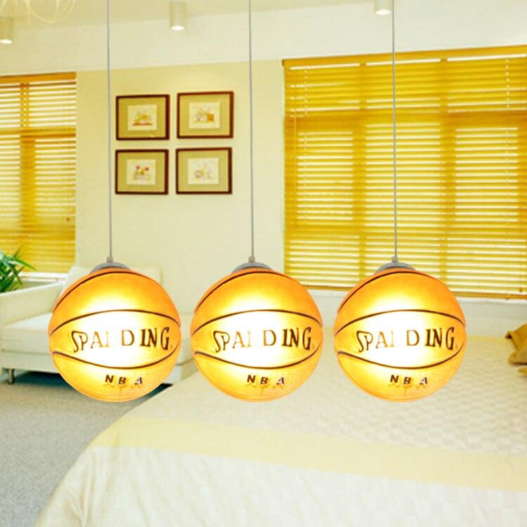 Lampes suspendues de basket lampes suspendues de chambre d'enfant lampe suspendue de chambre d'enfant LED chinois lampe pendante de boule de verre basket-ball - 4