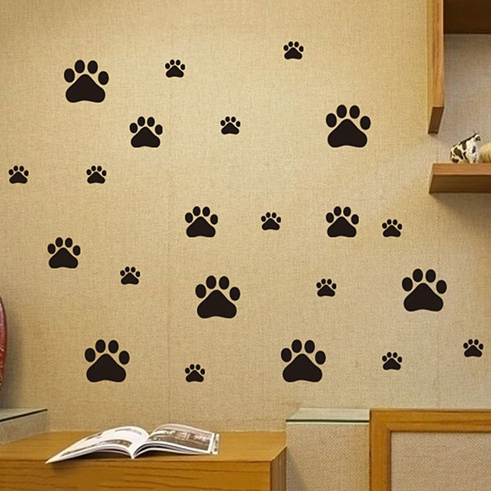 22Pcs/set Cat Dog Paw Wall Mural Decal Stickers Ideal for Children\'s ...