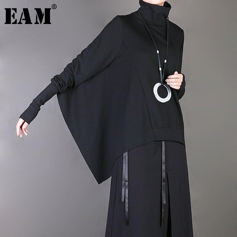 [EAM] 2020 New Spring Summer High Collar Brief Long Batwing Sleeve Black Loose Big Size Sweatshirt Women Fashion Tide JY048
